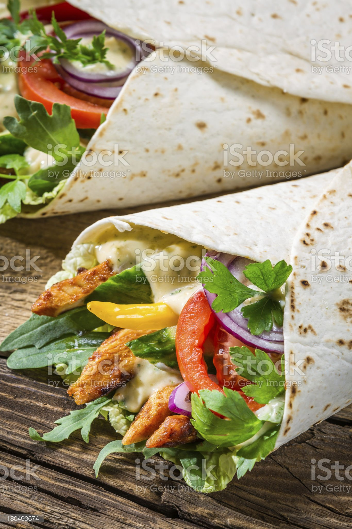 Kebab with vegetables and chicken royalty-free stock photo
