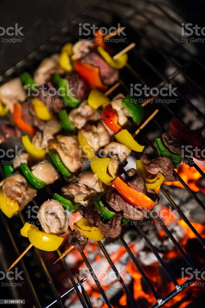 Kebabs On A Firery Barbecue stock photo