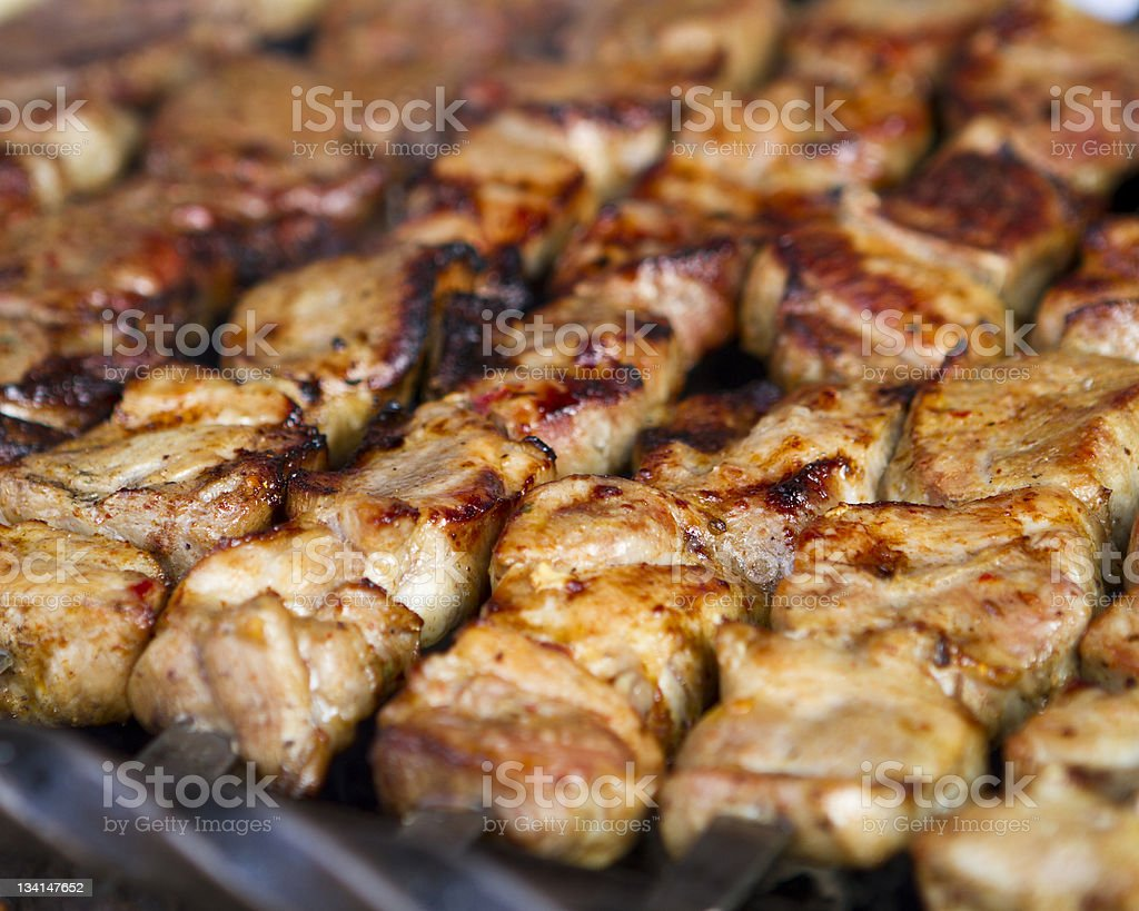Kebabs on a Grill royalty-free stock photo