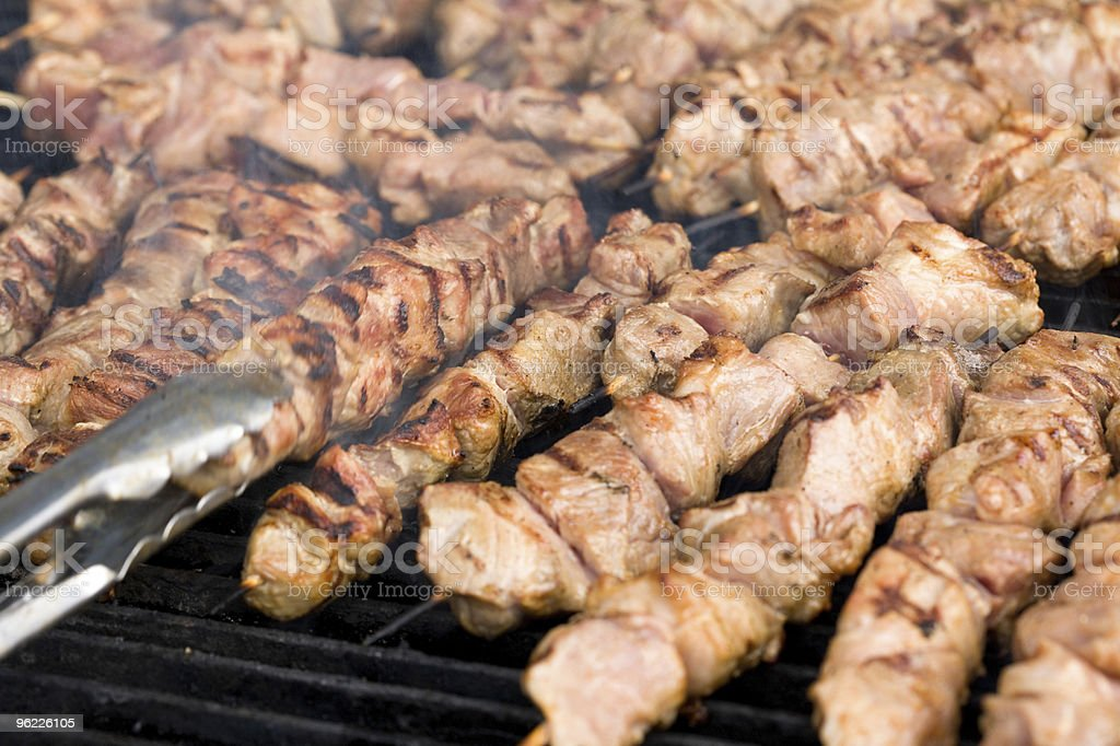 kebabs on the grill royalty-free stock photo