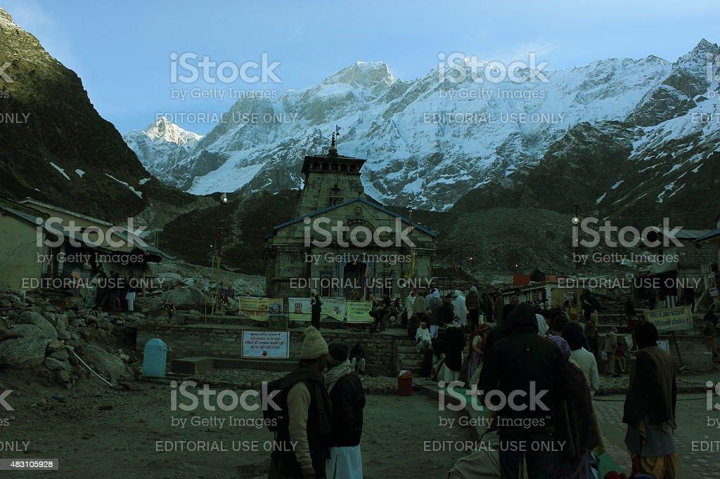 Kedarnath temple in Himalaya stock photo