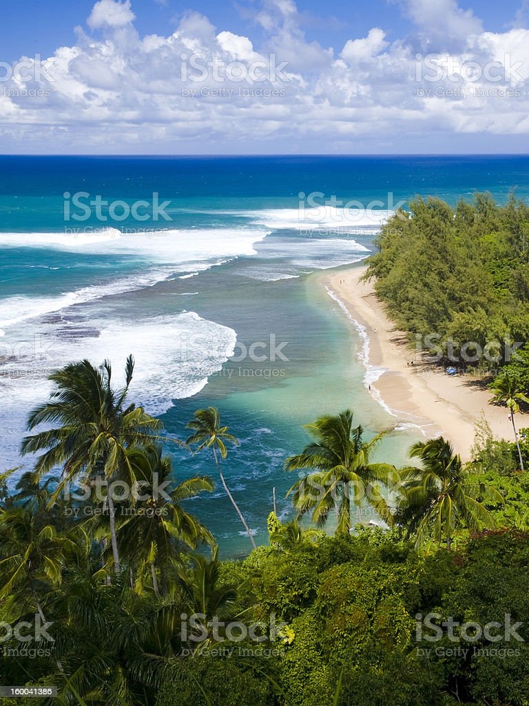 Kee Beach from Kalalau trail in Kauai, Hawaii stock photo