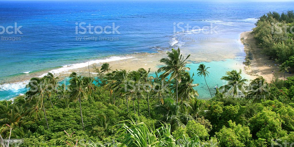 Ke'e beach Kauai Hawaii from above royalty-free stock photo