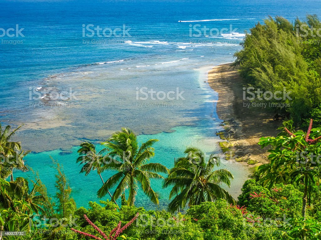 Kee Beach Kauai stock photo