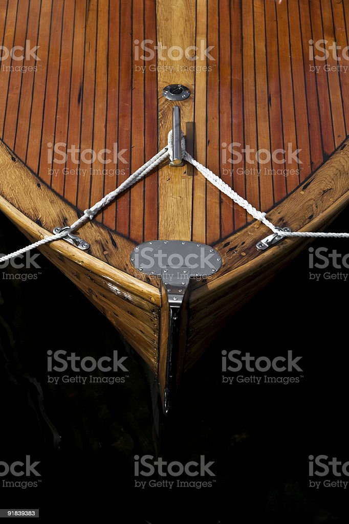 Keel of old wooden boat stock photo