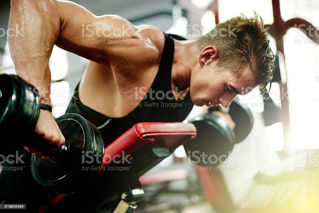 Keep calm and build muscles stock photo