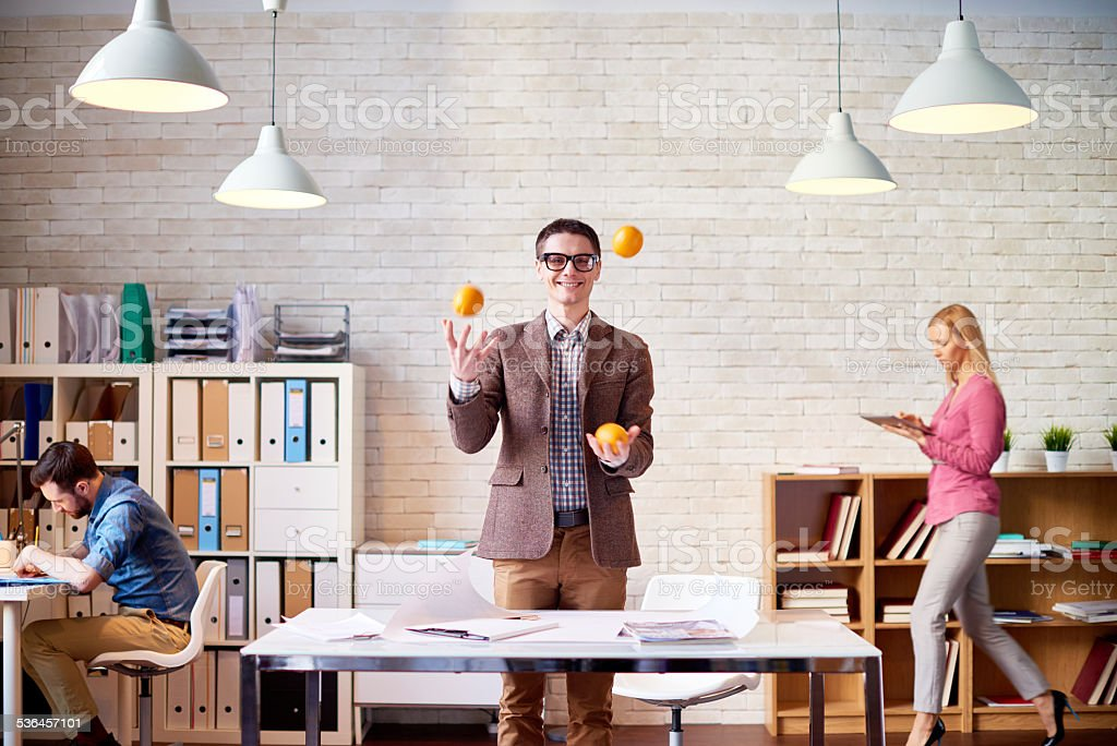 Keep calm and juggle on stock photo