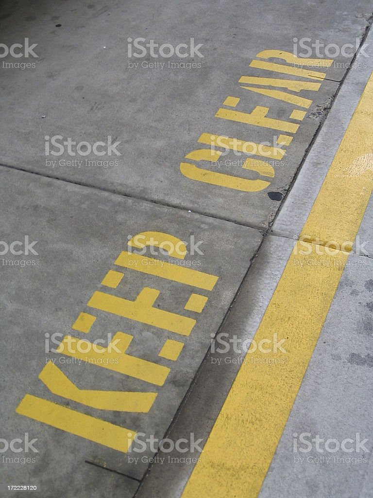 Keep Clear - Painted road markings stock photo