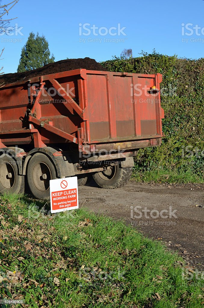 Keep clear working farm sign. stock photo