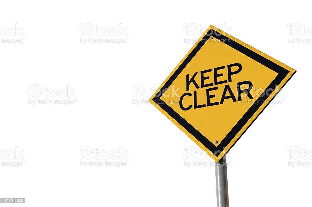 Keep clear yellow highway road sign stock photo