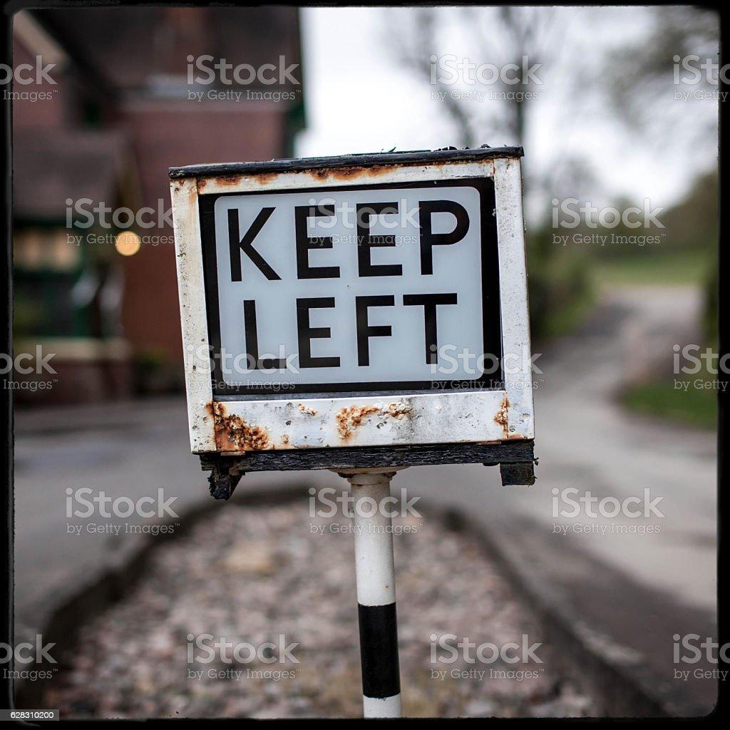 Keep Left Railway Sign stock photo