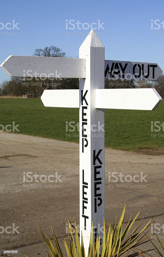 Keep Left Way Out Sign royalty-free stock photo