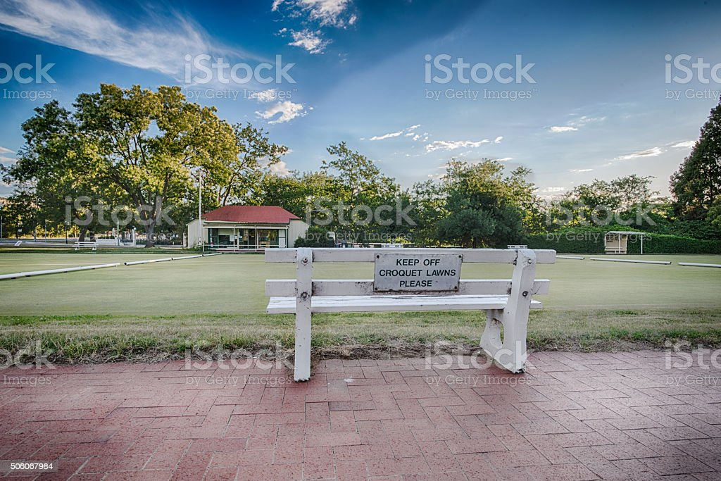 Keep off croquet lawns, Canberra, Australia stock photo