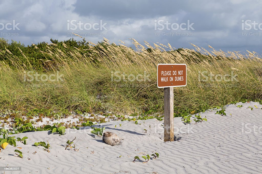 Keep off dunes sign in Florida stock photo