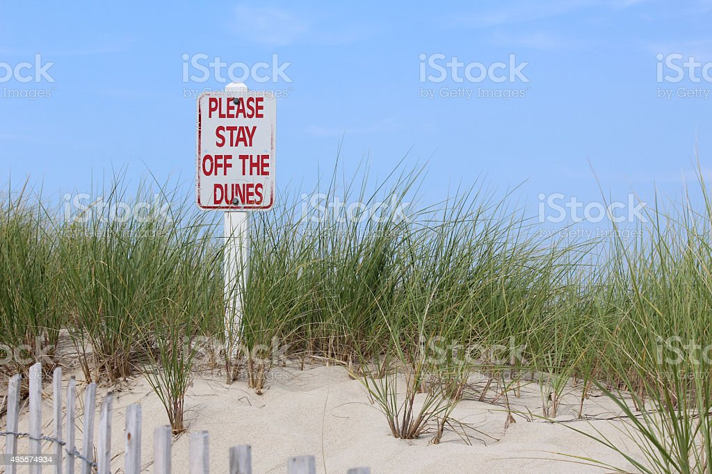 Keep off the Sand Dunes - Cape Cod Beach, Brewster stock photo