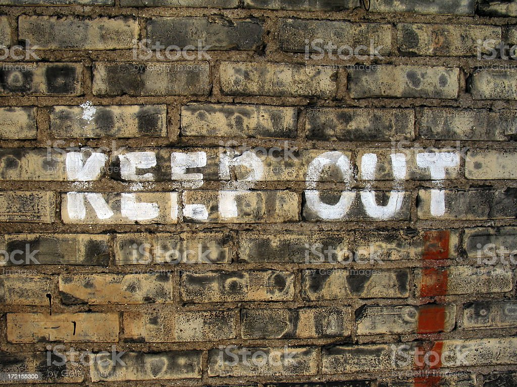 Keep Out on Wall royalty-free stock photo