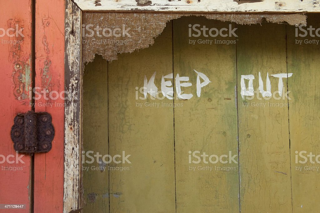 Keep Out Sign on Door, Grunge, Copyspace royalty-free stock photo
