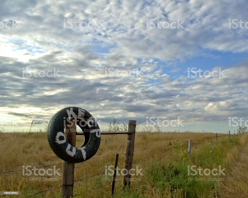Keep out sign on the plains stock photo