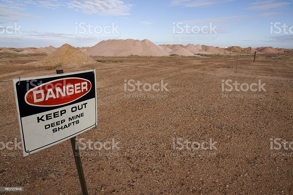 Keep Out Sign - Opal Mining Coober Pedy stock photo