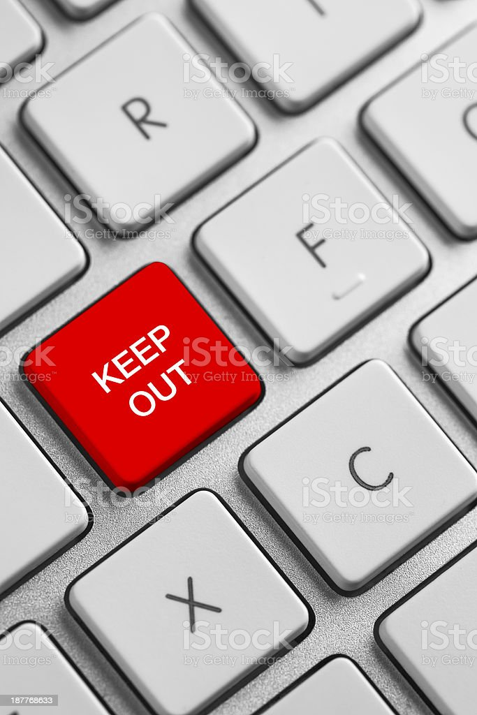 Keep out warning on a keyboard stock photo