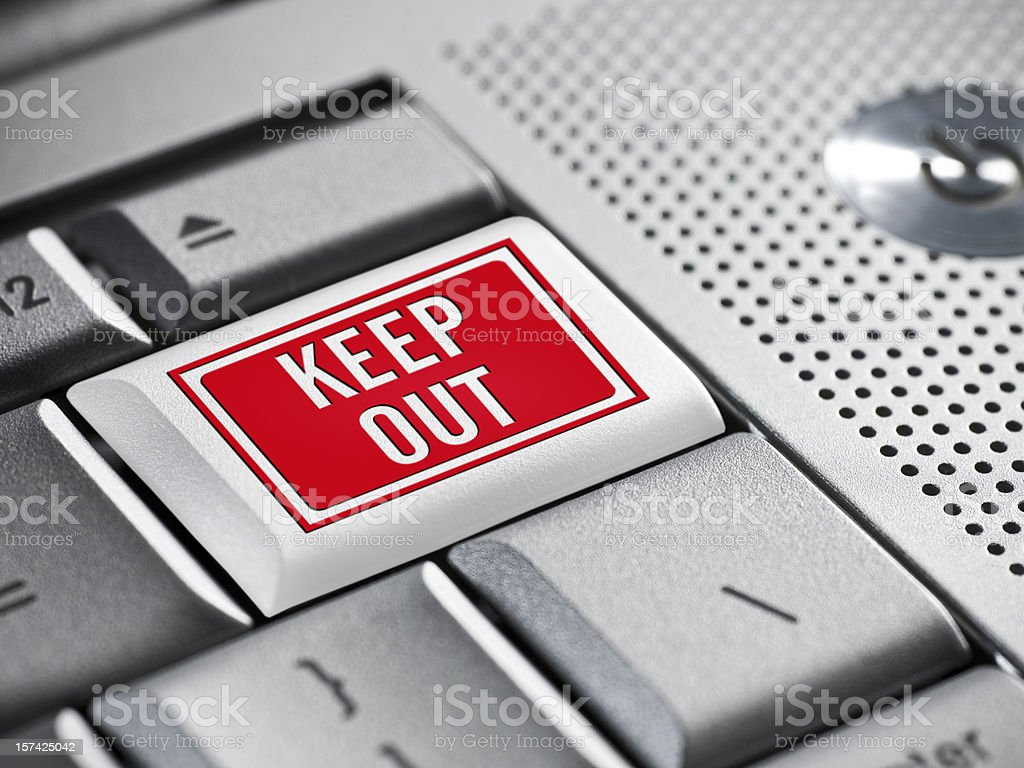 Keep out warning on a laptop stock photo