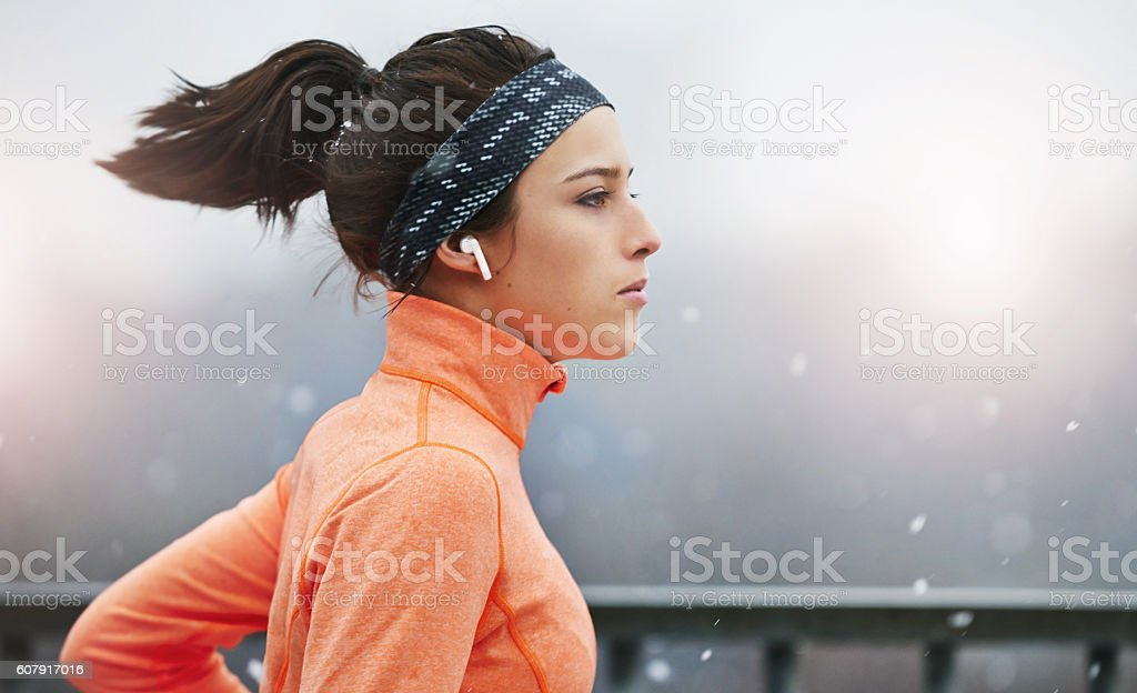 Keep up the pace with the perfect playlist stock photo