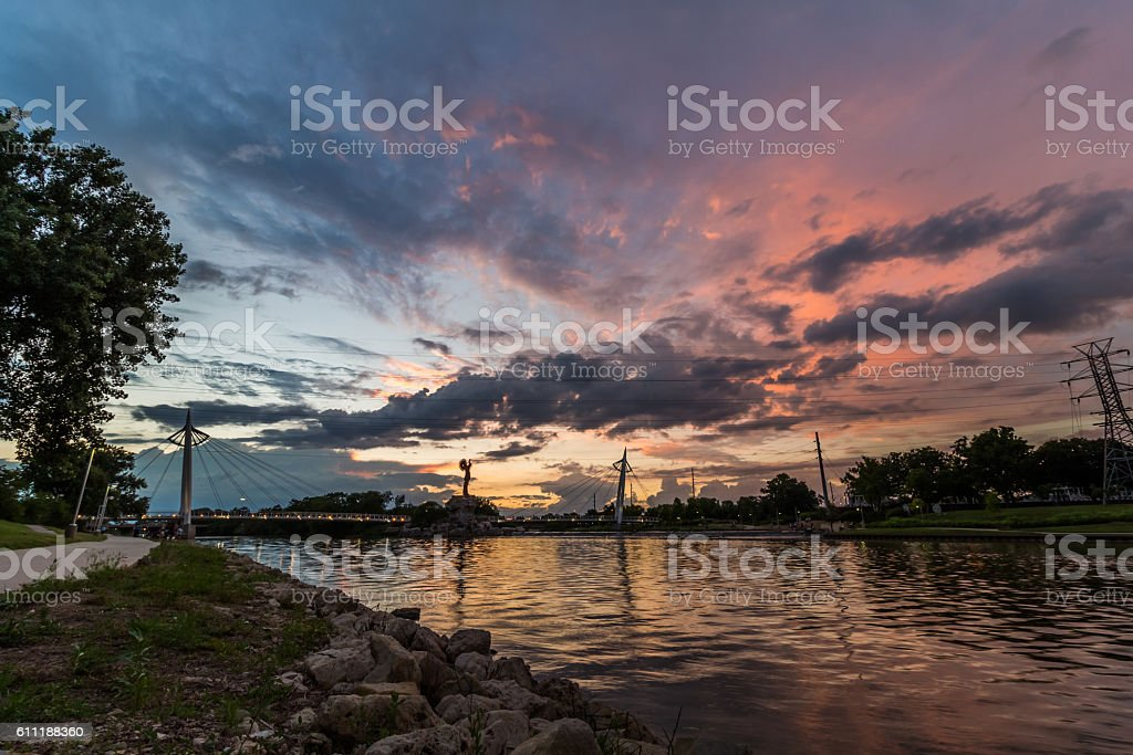 Keeper of the Plains Colorful Sunset stock photo
