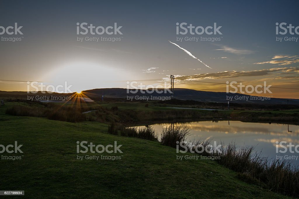 Keepers Pond, The Blorange. Upland water at sunset. stock photo