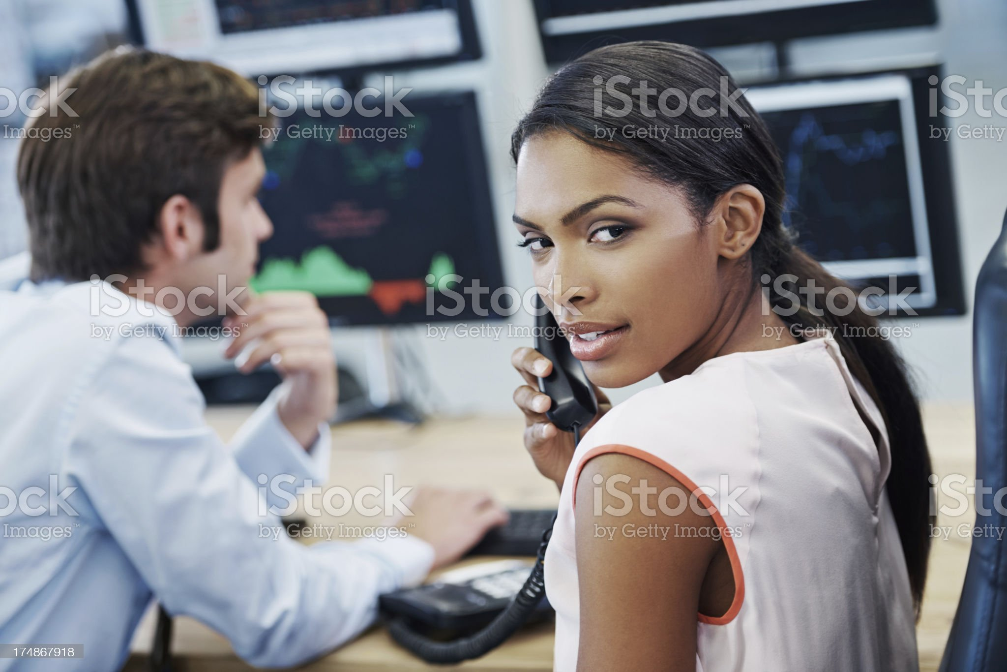 Keeping abreast of the markets royalty-free stock photo