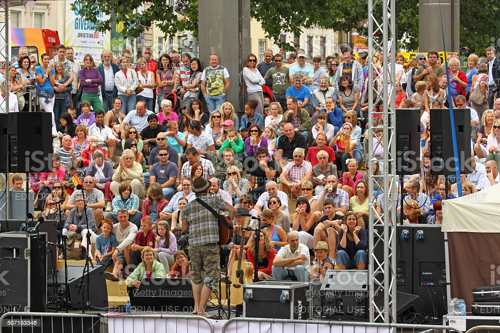 Keeping an audience entertained at the Bristol Harbour Festival UK stock photo