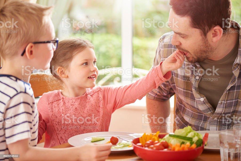 keeping dad healthy stock photo