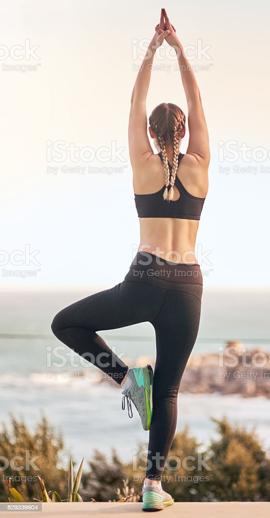 Keeping fit with yoga stock photo