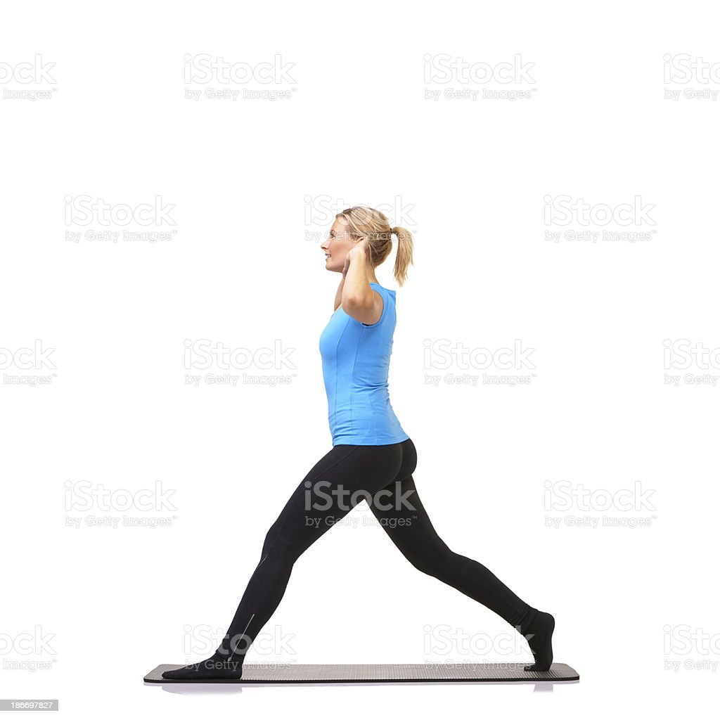 Keeping her balance takes strength royalty-free stock photo