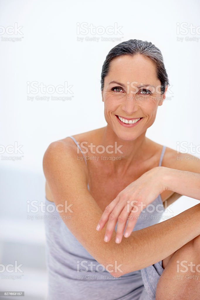 Keeping her body in great shape stock photo