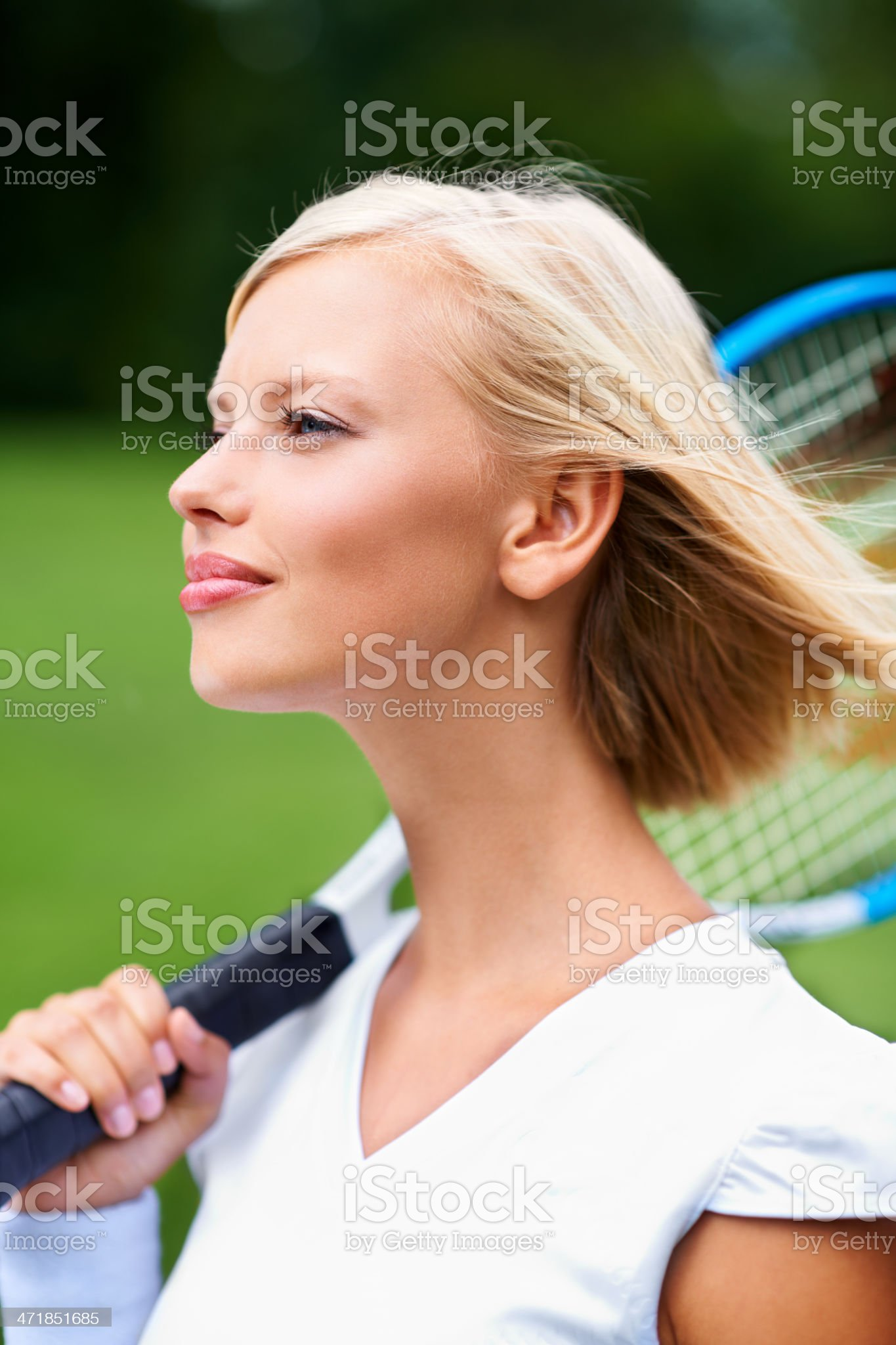 Keeping her eye on the ball royalty-free stock photo