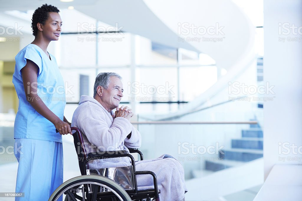 Keeping her patient company royalty-free stock photo
