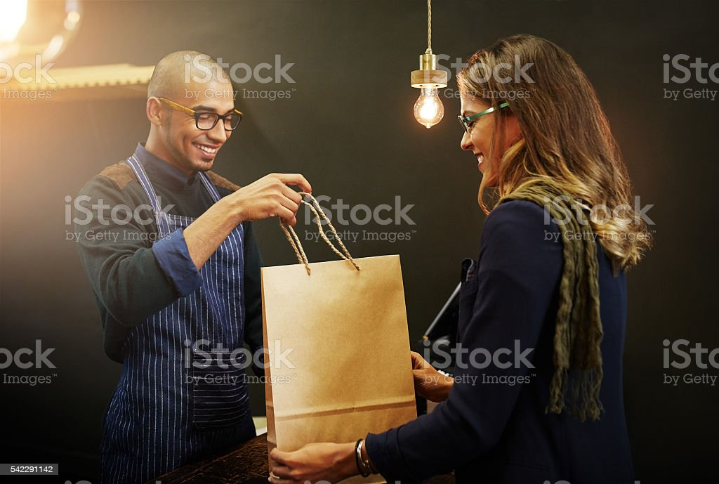 Keeping his customers smiling stock photo