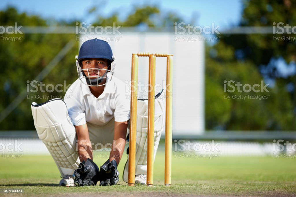 Keeping his focus at all times stock photo