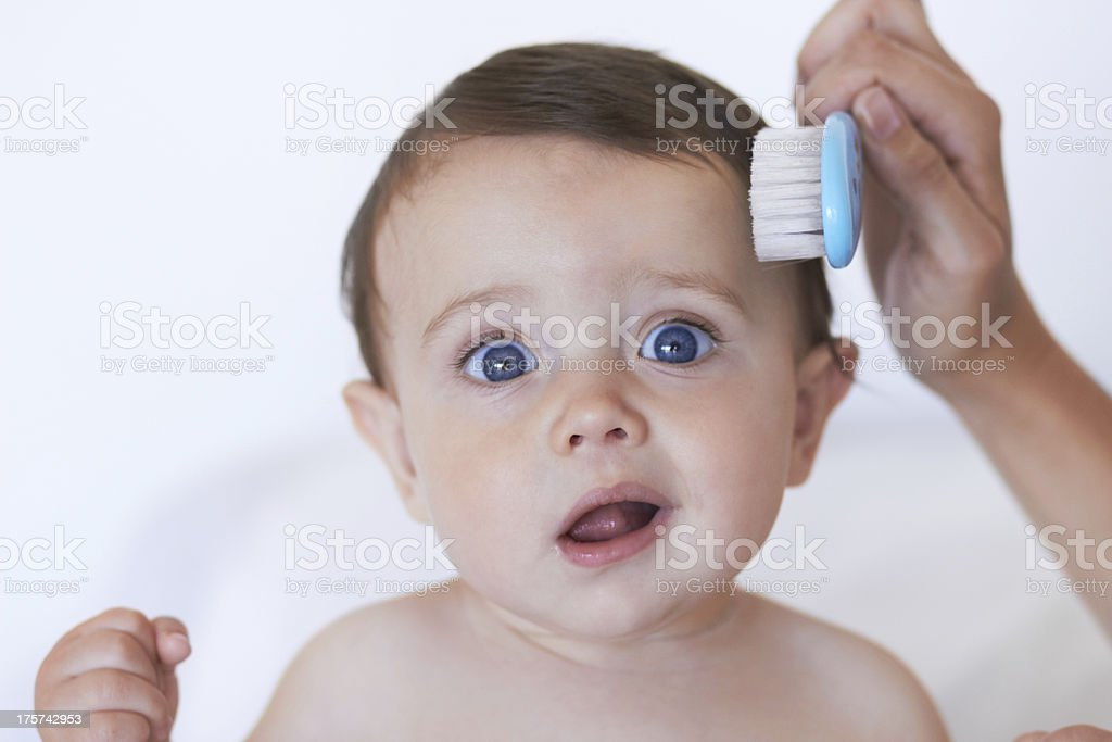 Keeping his hair neat and tidy stock photo