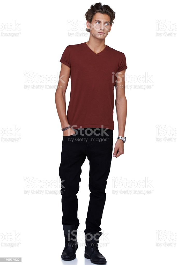 Keeping his look casual and modern stock photo