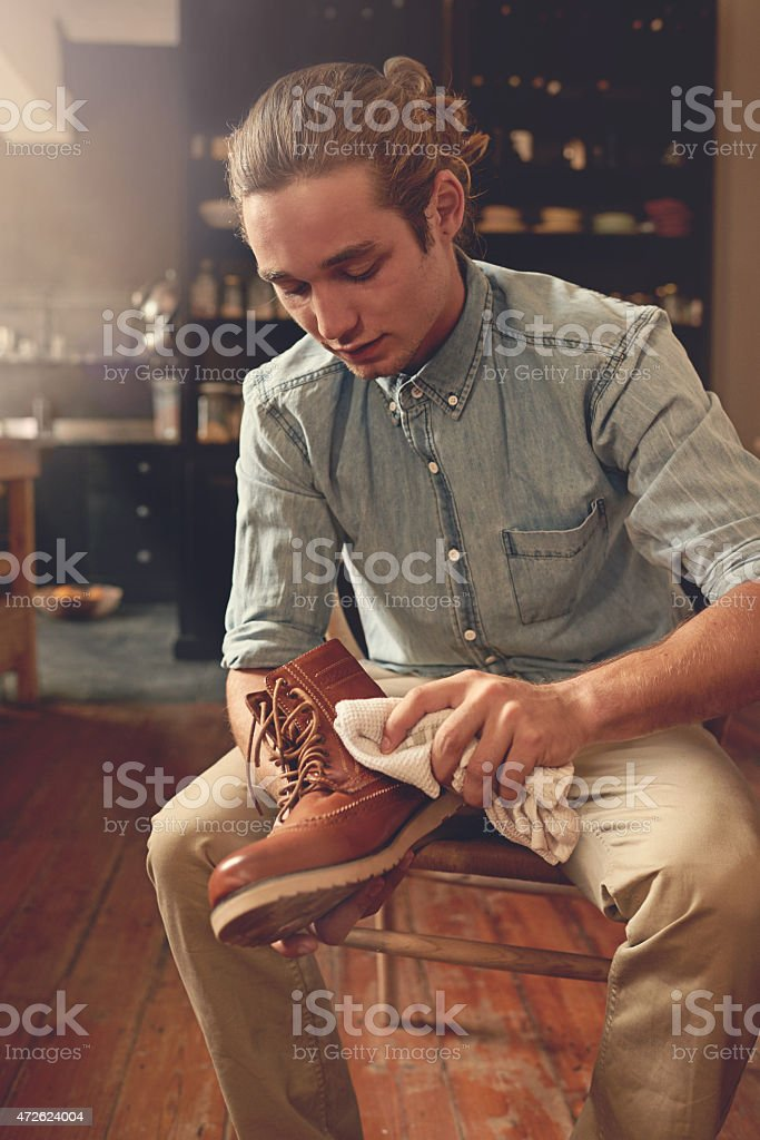 Keeping his shoes clean stock photo
