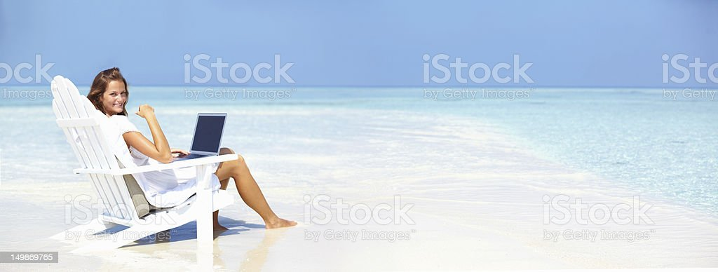 Keeping in contact on holiday royalty-free stock photo