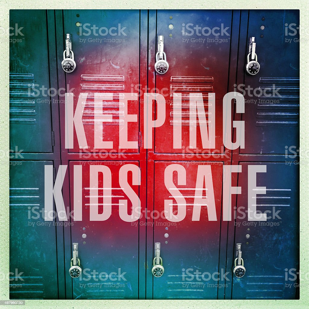Lockers with text that says \'Keeping Kids Safe.\'