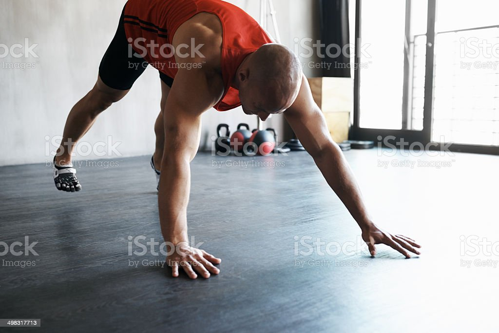 Keeping stretched to avoid serious injury royalty-free stock photo