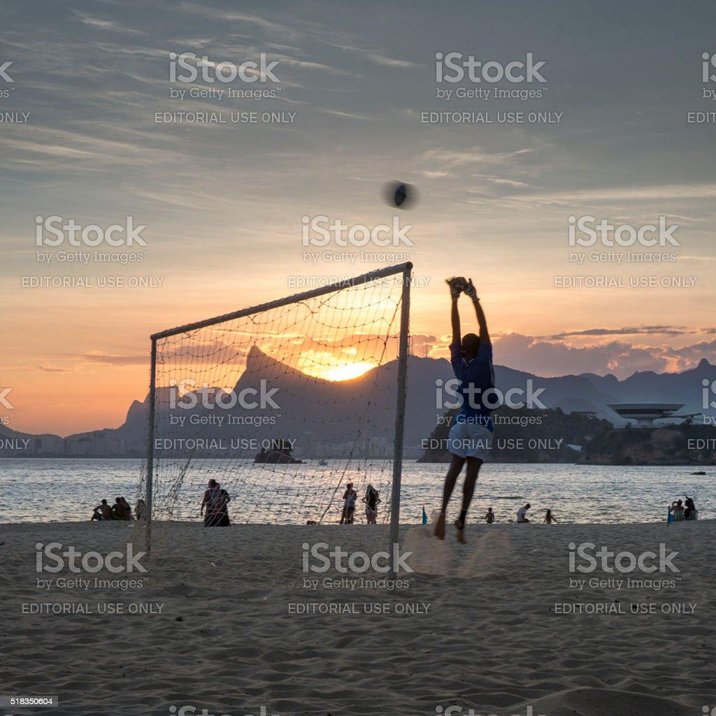 Keeping the goal in Rio de Janeiro stock photo