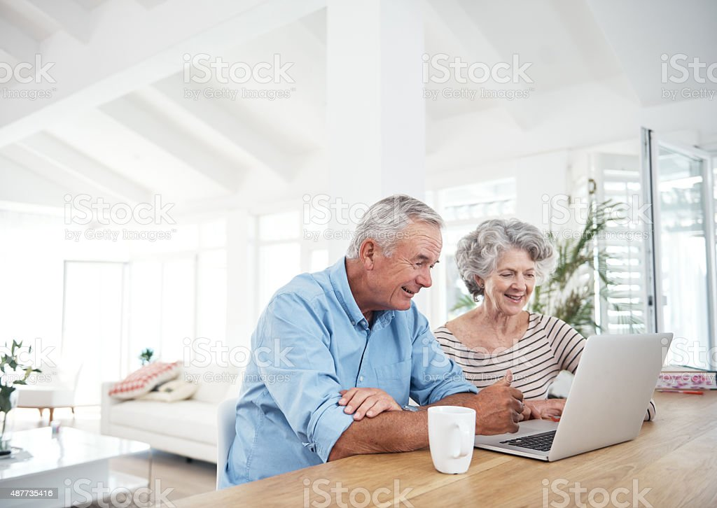 Keeping up with modern technology stock photo