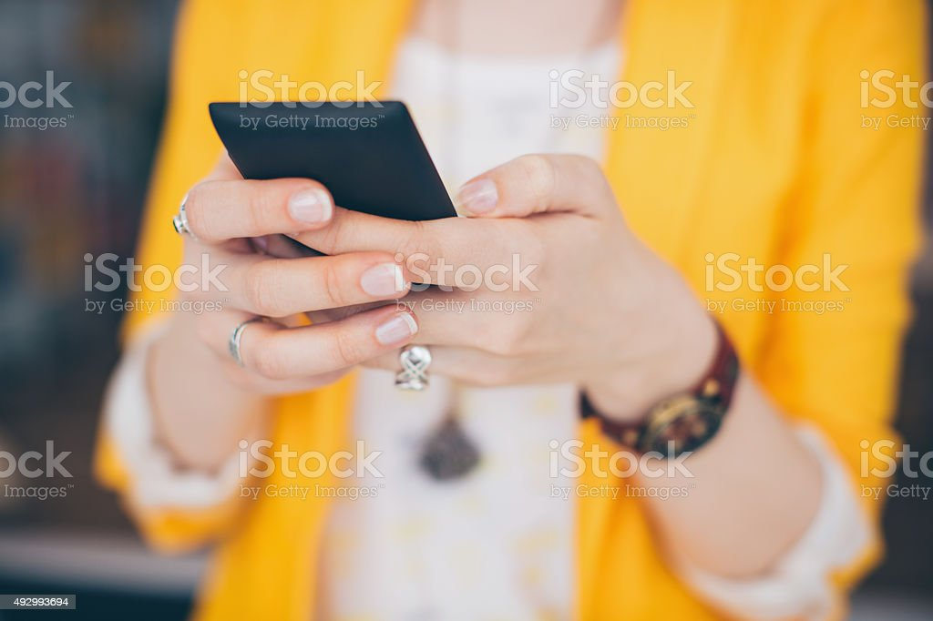 Keeping updated with world. stock photo
