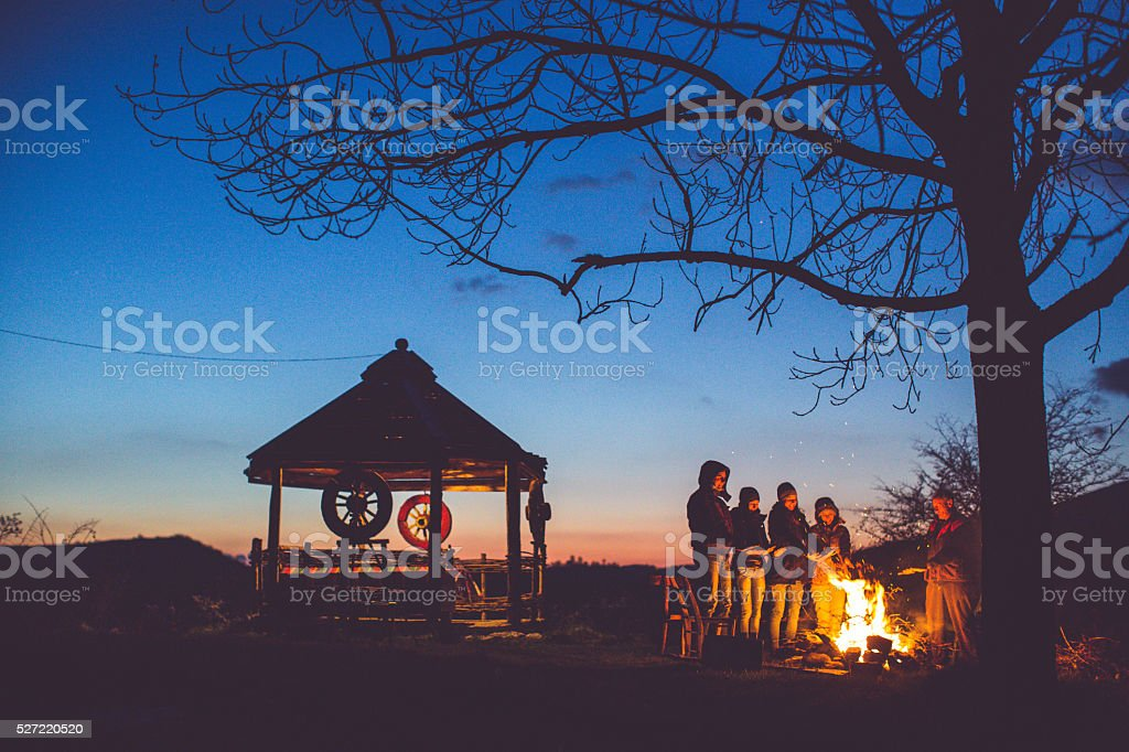 Keeping warm in the night stock photo