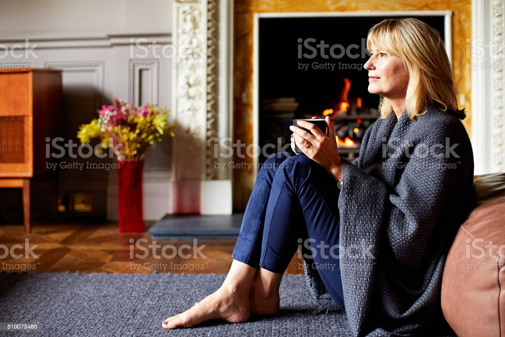 Keeping warm on a chilly morning stock photo