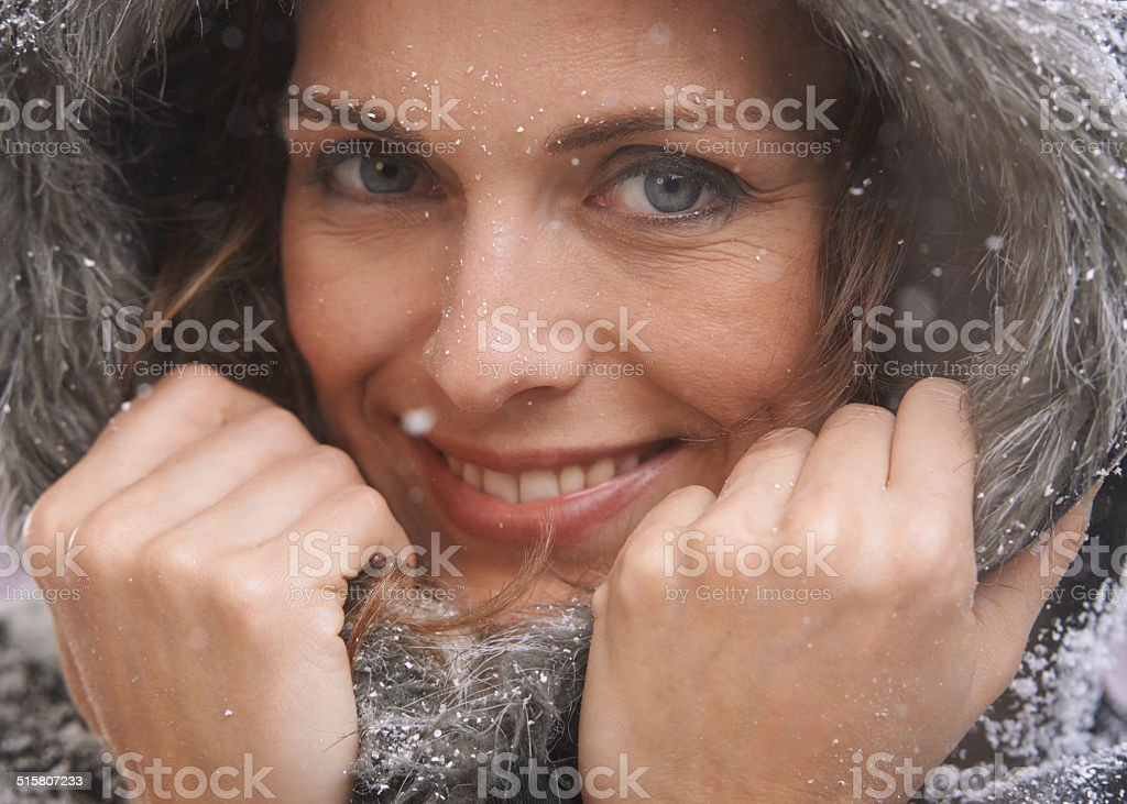 Keeping warm this winter stock photo